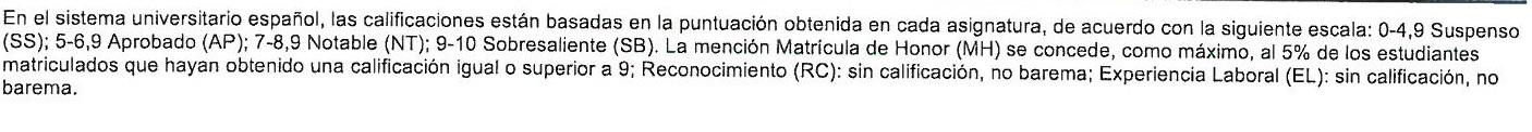 Ejemplo de calificaciones explicadas en un expediente de la UCM