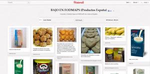 Página en Pinterest con alimentos bajos en FODMAPS