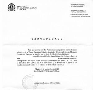 Certificado de autoridades competentes