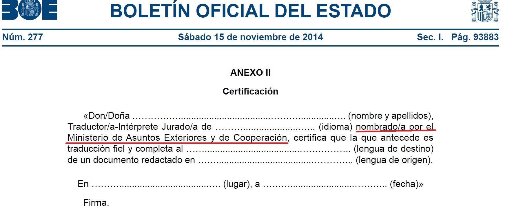 certificación BOE