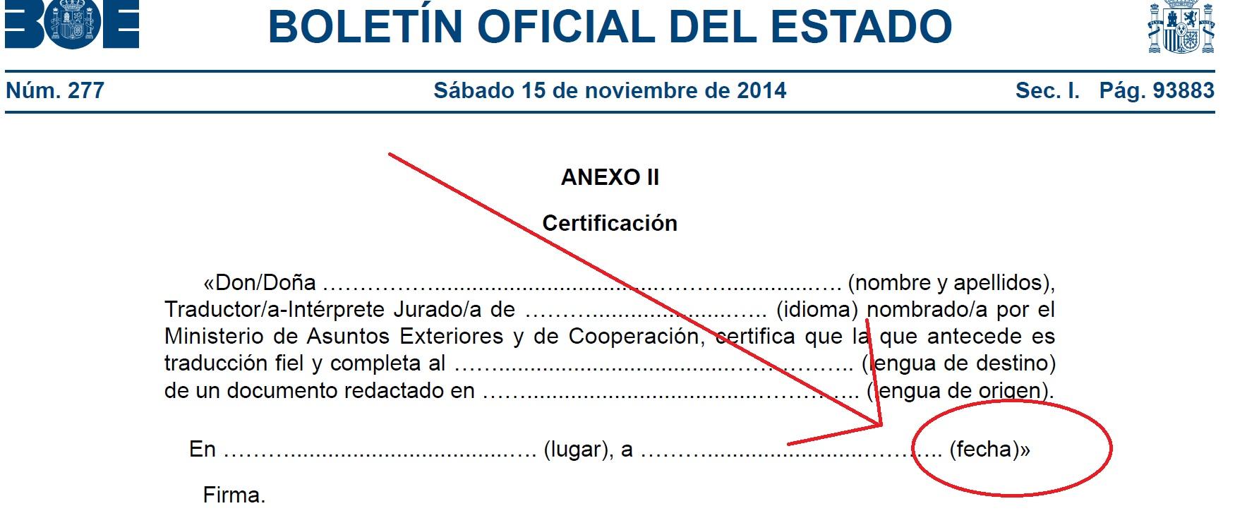 certificación FECHA