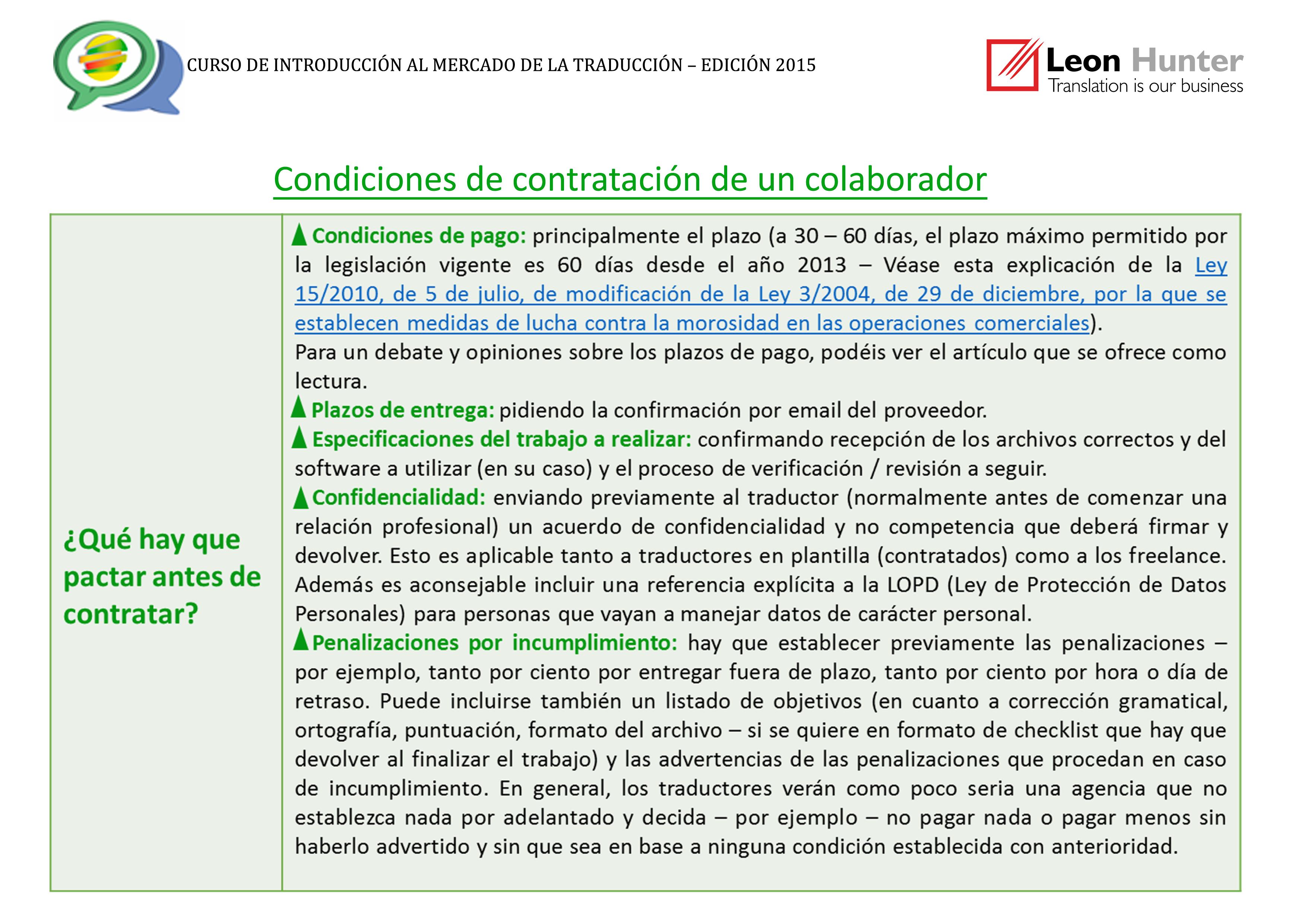 Condiciones de contratacion