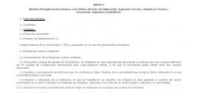Texto del suplemento europeo al título según el RD de 2003