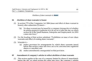 Imagen de la SBBE de 2015 - ley inglesa - donde se ilustra un punto sobre la abolición de acciones al portador en Inglaterra
