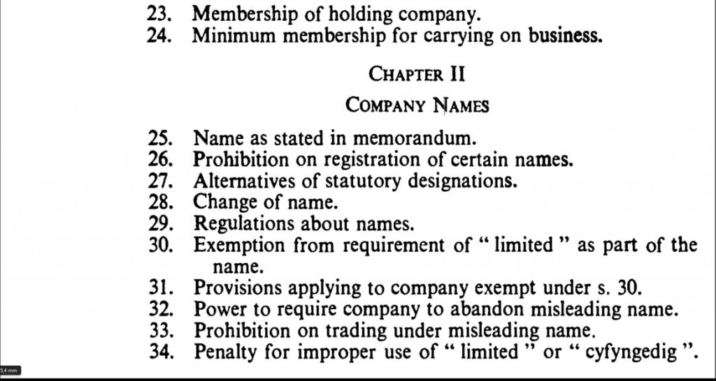 Toma de pantalla del índice de la ley de sociedades inglesa de 1985 para ilustrar un punto sobre la denominación de las sociedades