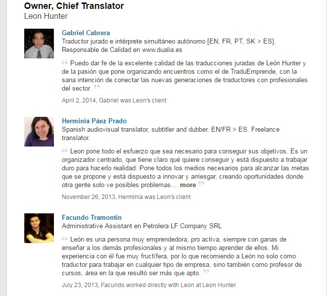Recomendaciones de LinkedIn