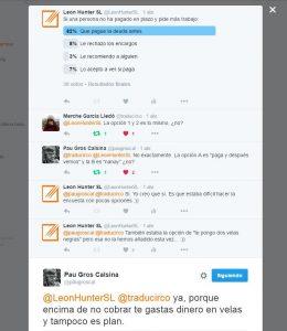 Imagen de una encuesta de Twitter sobre el pago de un encargo de traducción
