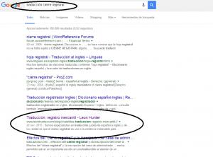 Imagen de una búsqueda de una palabra de un nicho de traducción jurada