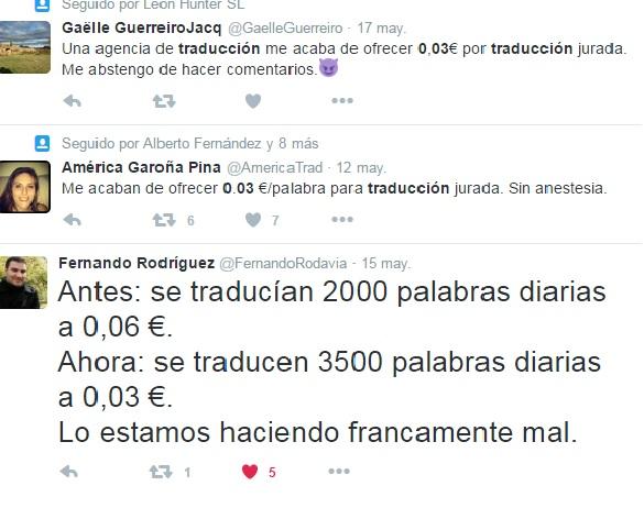 Comentarios sobre precios en traducción en Twitter