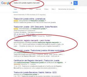 Imagen de una búsqueda en Google con artículo de nicho