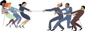 Batalla entre sexos para ilustrar el artículo del lenguaje inclusivo