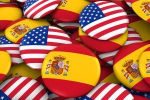 Foto de banderas de España / USA