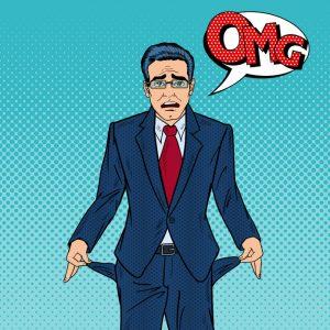 """Hombre de negocios arruinado. Para ilustrar """"las 10 maneras de perder dinero con una jurada"""""""