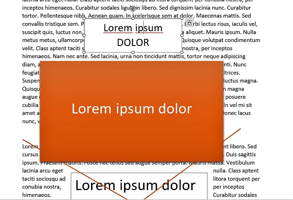 La ortografía del texto principal y el cuadro de texto son independientes