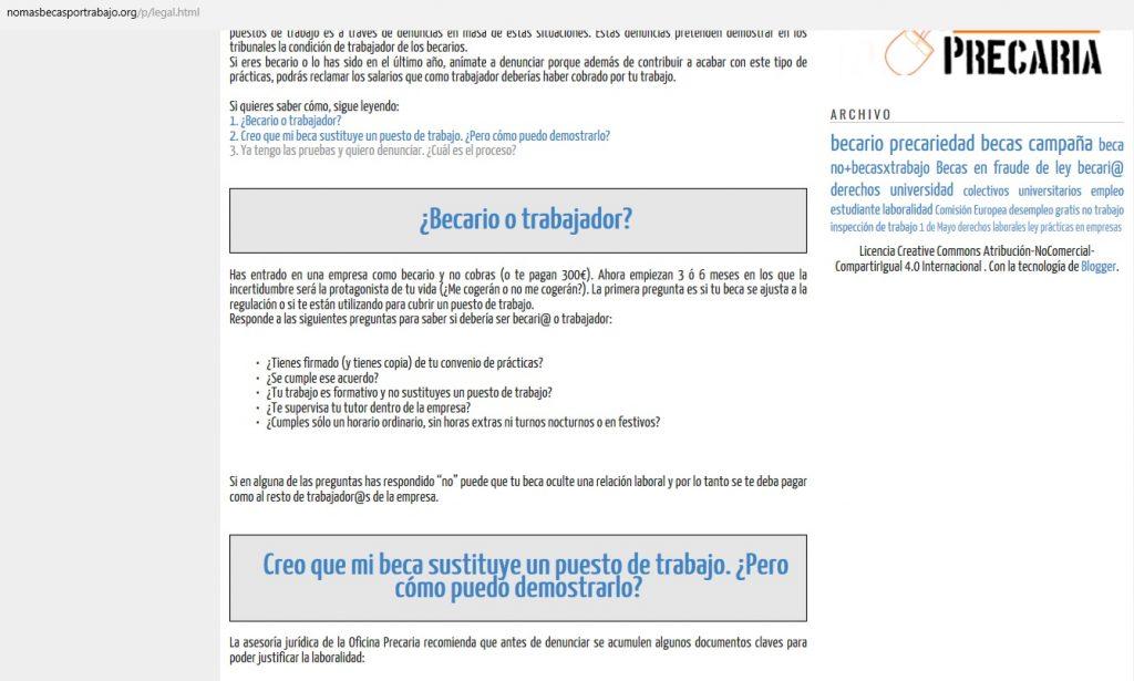 """Toma de pantalla de la página web """"no más becas por trabajo""""."""