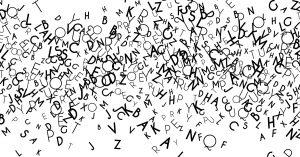 Letras dispersas sobre fondo blanco.