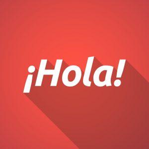 Palabra «hola» sobre fondo rojo.