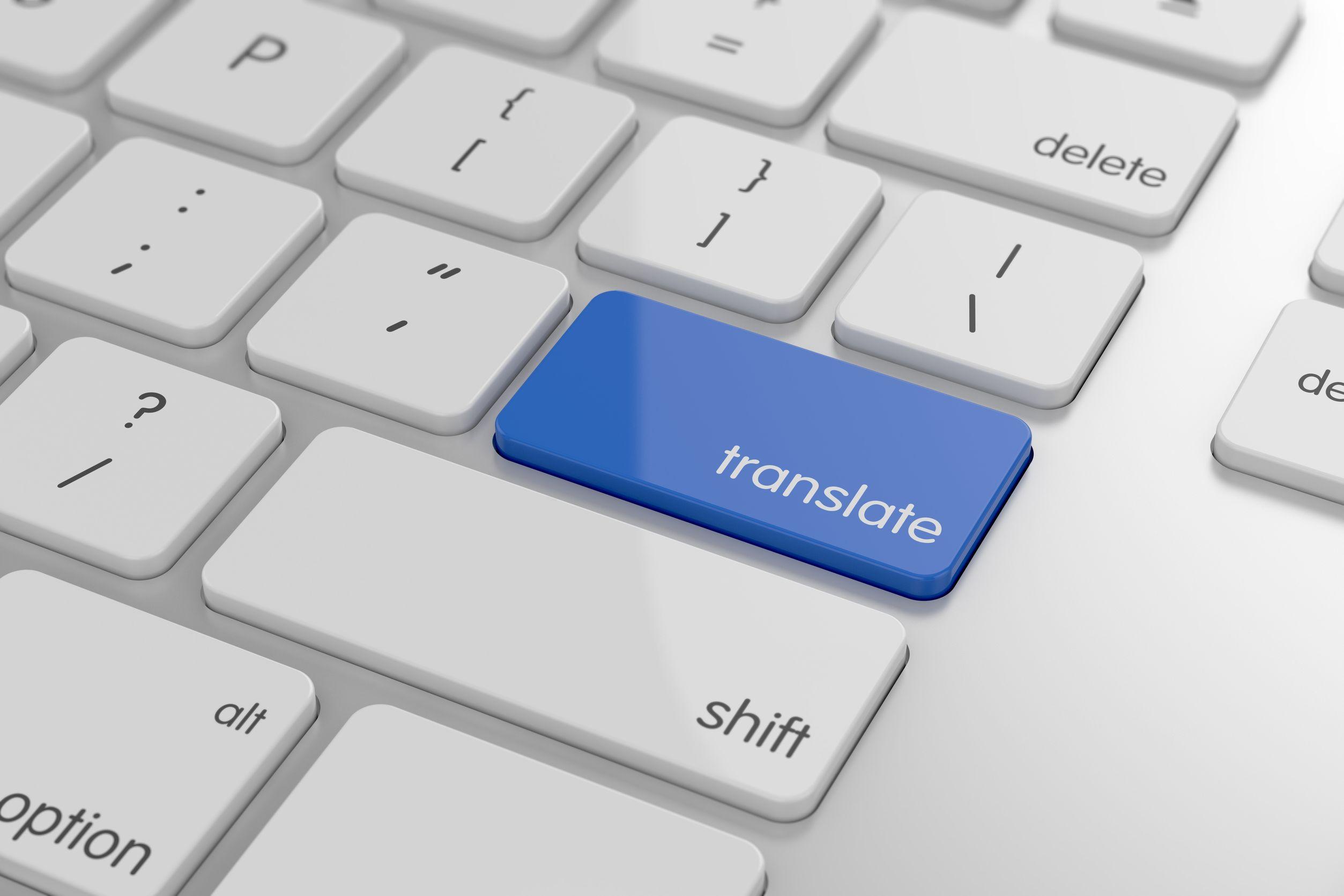 Botón de traducción en un teclado.