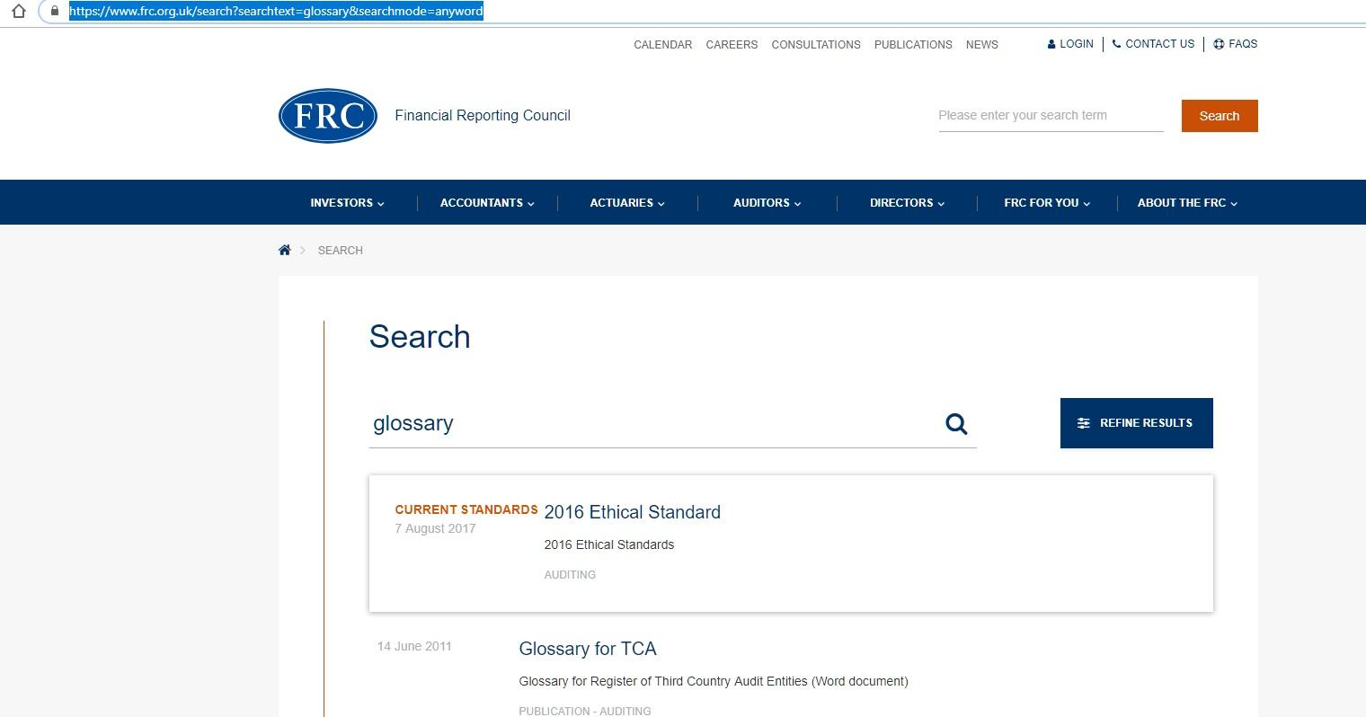 Cómo buscar glosarios en la página de la FRC