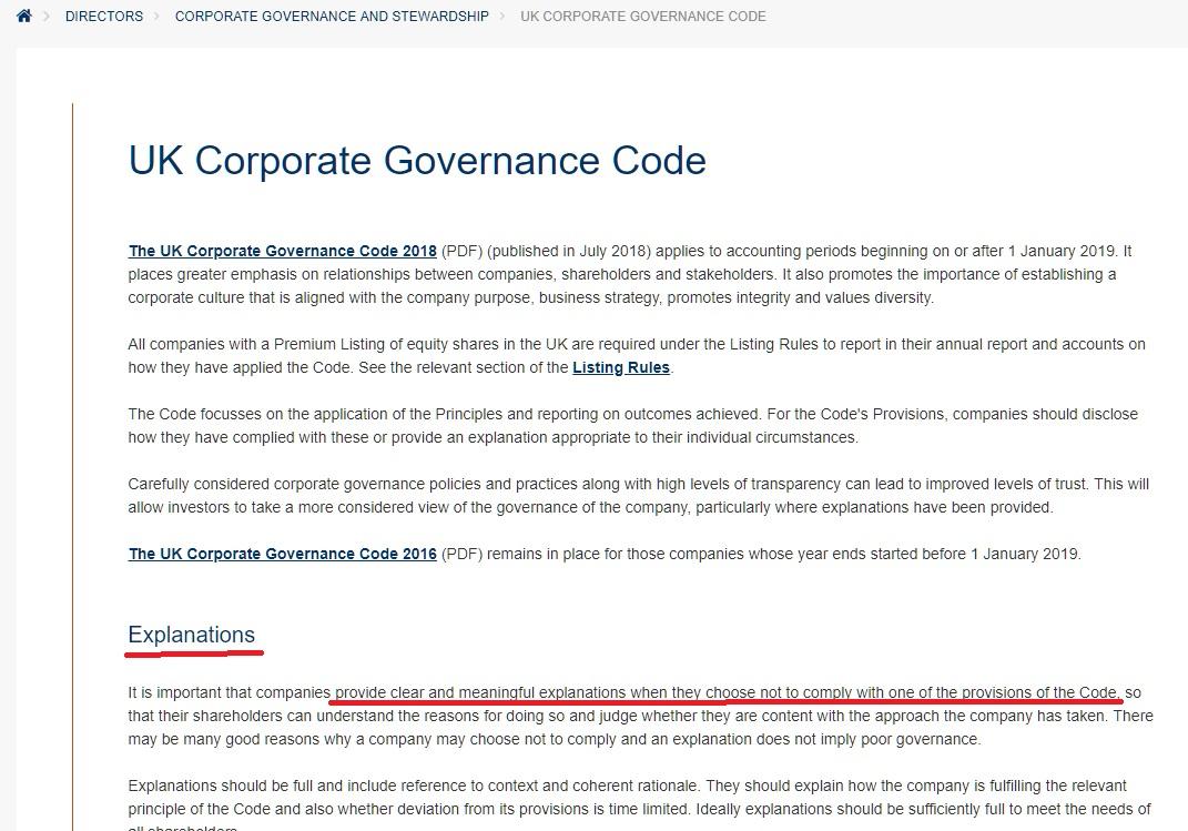 Toma de pantalla del Código de Gobernanza Corporativa del Reino Unido