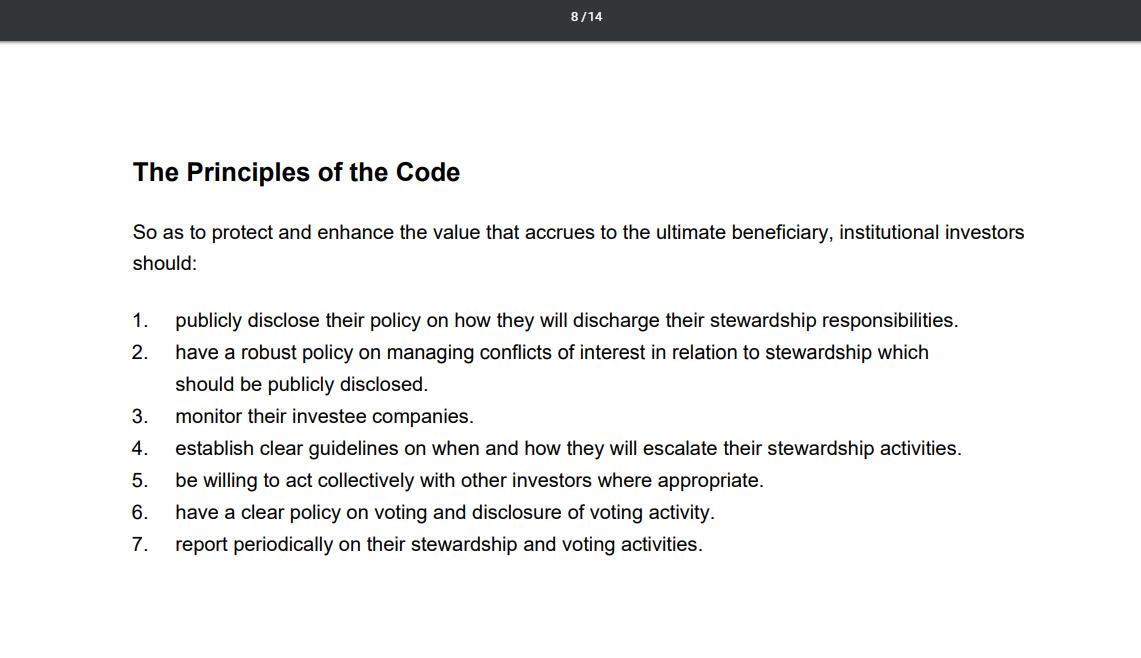 Toma de pantalla de los principios del UK Stewardship Code