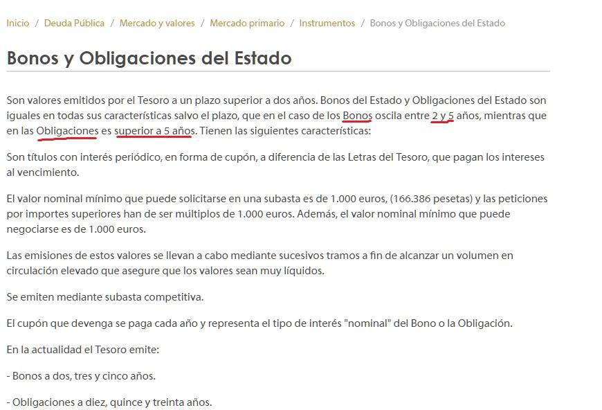 Diferencia entre bonos y obligaciones (según el Tesoro español)